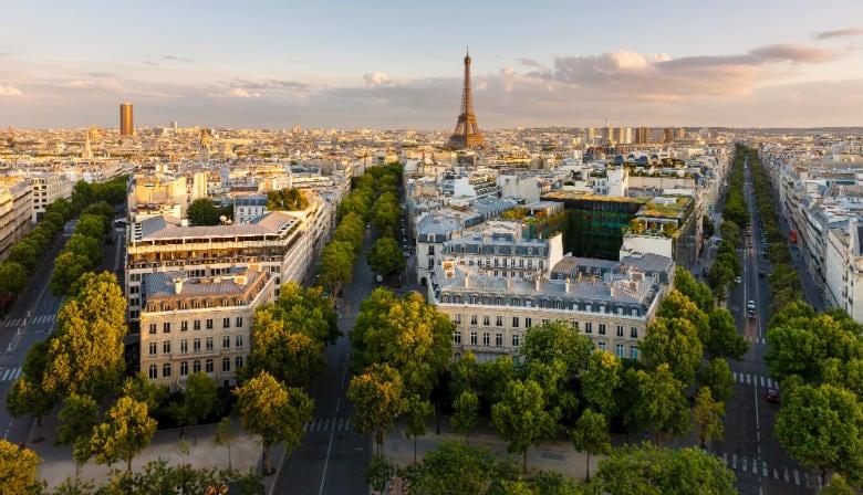 View over Paris from the Arc de Triomphe