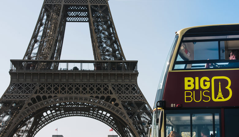 Enjoy the magnificent views of the Eiffel Tower on board a Hop-on Hop-off bus
