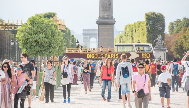 乘坐大巴士游览巴黎