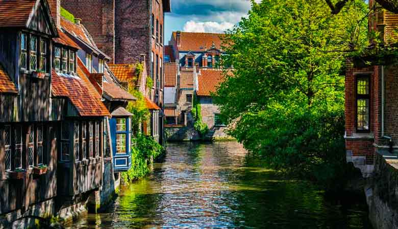 Beautiful canal across Bruges village