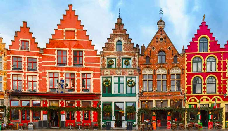 Beautiful colored houses of Bruges