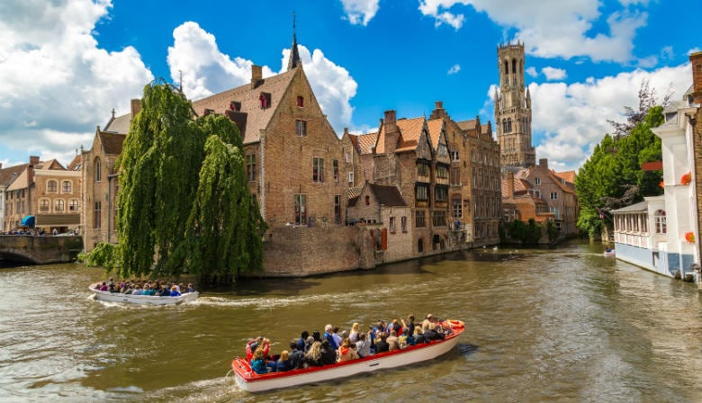 Cruise on the canal of Bruges in summer time