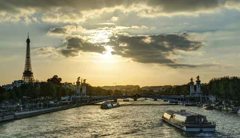 Seine river cruise at sunset