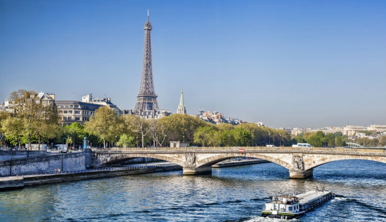 See the Eiffel Tower from the Seine river in Paris