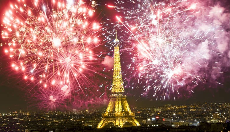 Fireworks at the Eiffel Tower on July 14th