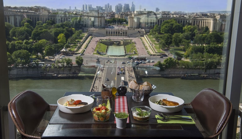 Lunch at the Eiffel Tower with view of Paris