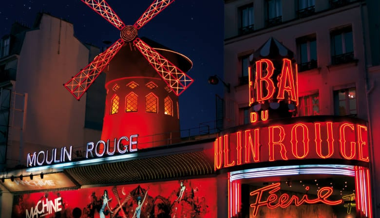 View of the entrance of the Moulin Rouge