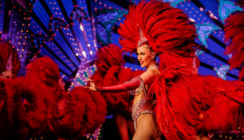 Dancers during a dinner show at the Moulin Rouge