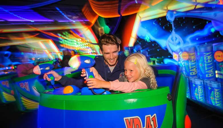 Buzz Lightyear Laser Blast at Disneyland with family