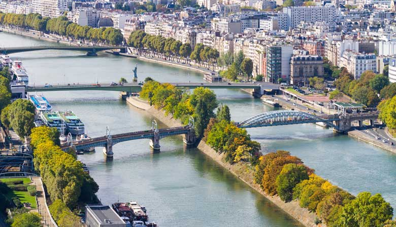 Fly over the Seine River