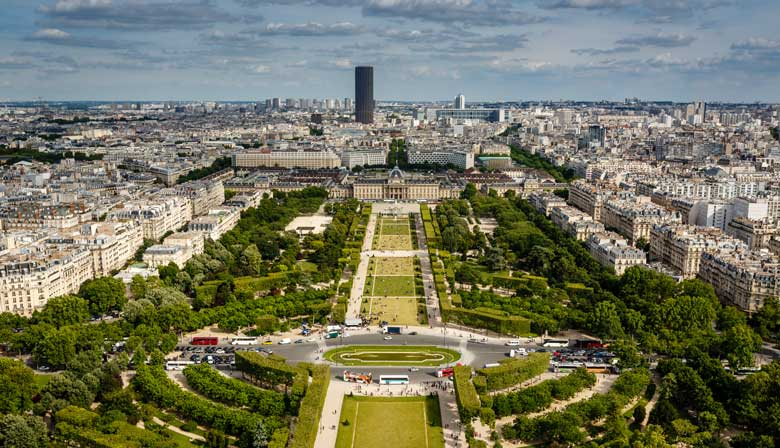 Champ de Mars from the sky