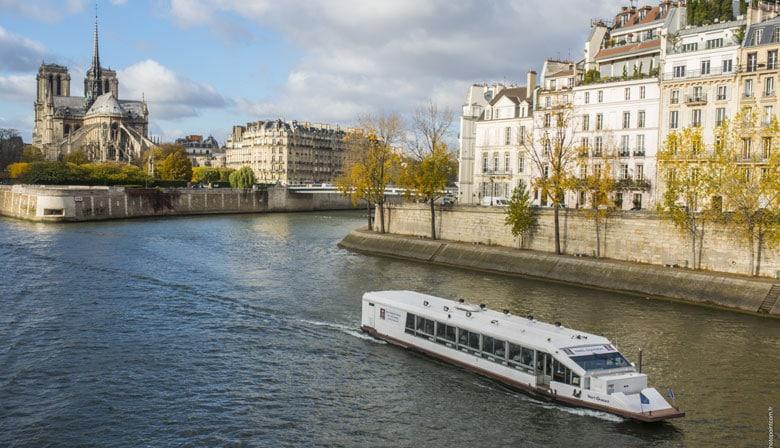 在塞纳河上的小船餐厅在巴黎