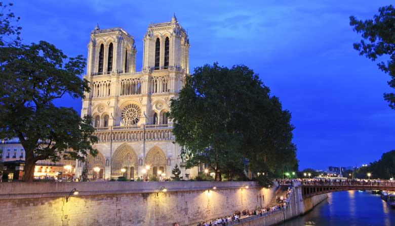 Illuminated Notre Dame cathedral