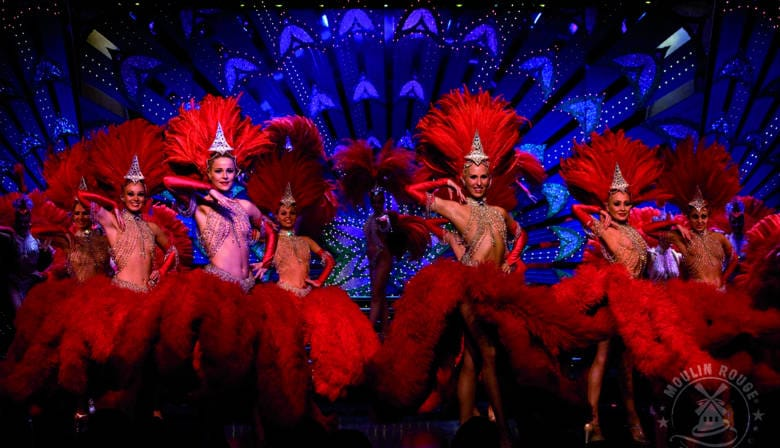 Fantastic dancers at the Moulin Rouge cabaret