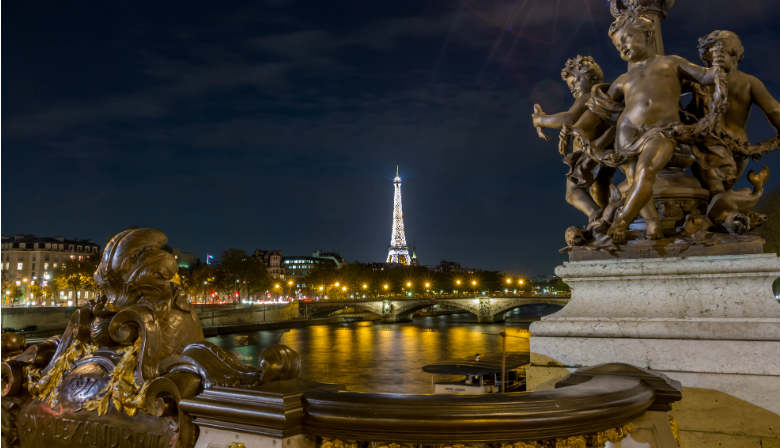 Eiffel Tower of Paris illuminated