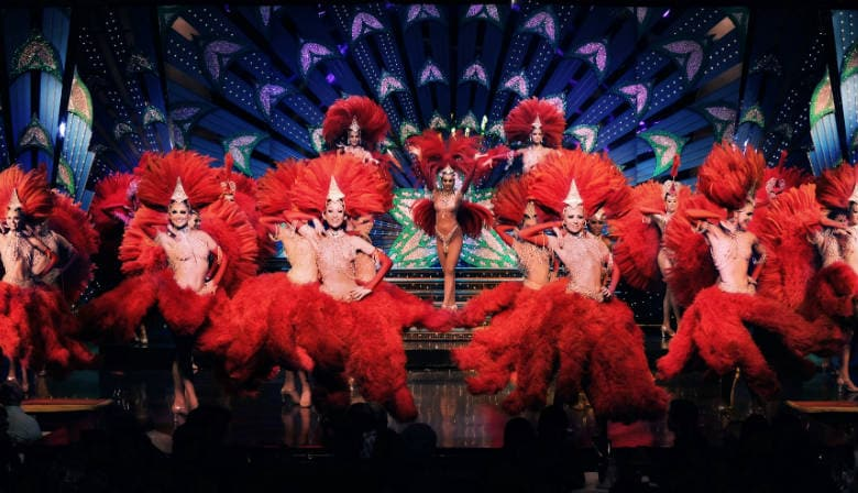 Moulin rouge dancers with red costumes