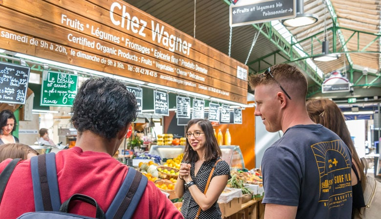 Guided tour in a french food market