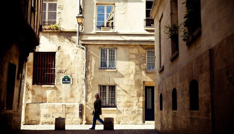 Street in the neighborhood of Le Marais in Paris