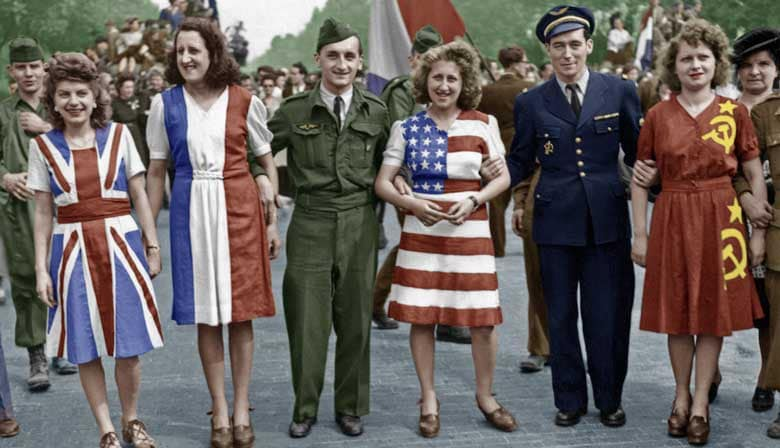 Picture of Allies in Paris during the WWII