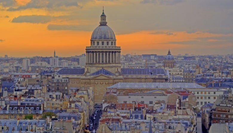 View of the Panthéon at the sunset in Paris