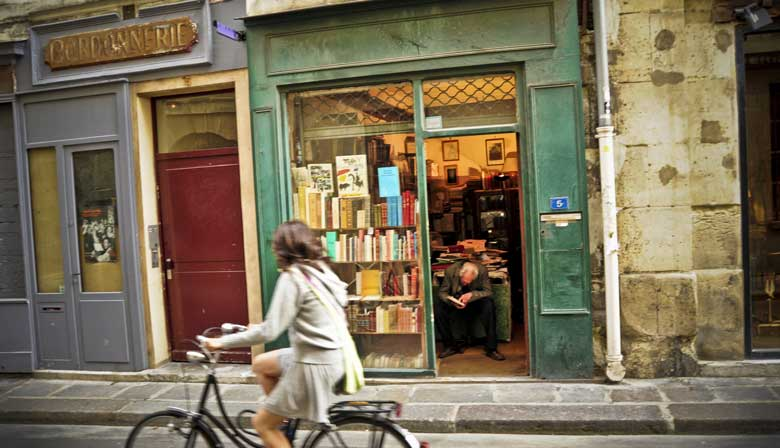 Bookstore in an authentic Paris street