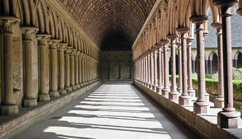 Cloister of the abbey of Mont Saint Michel