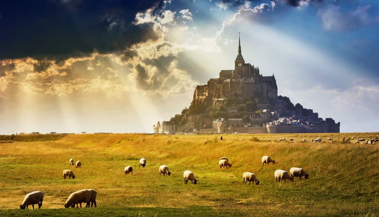 View of Mont Saint Michel without water
