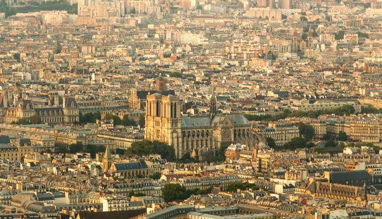 View of the Notre-Dame Cathedral in Paris