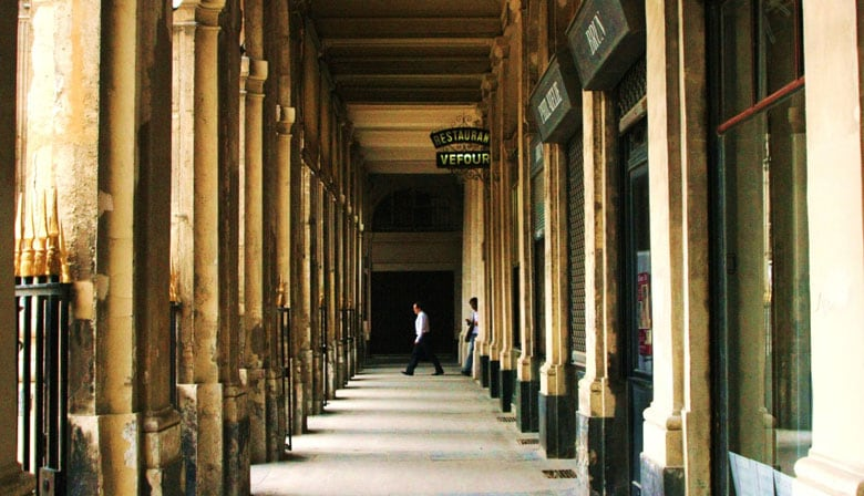 Arcades in the Palais Royal in Paris