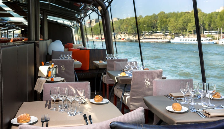 Boat restaurant for a lunch cruise on the Seine river