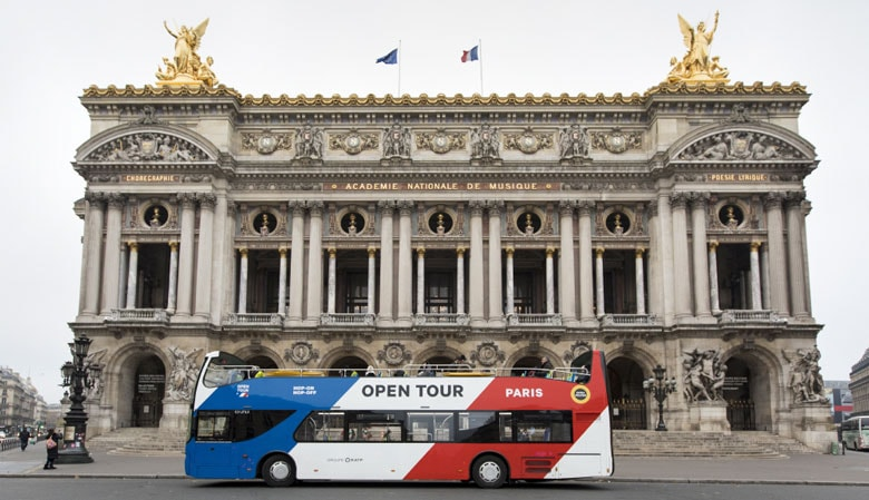 The Opentour bus in front of the Opera Garnier