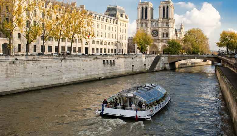 View of Notre-Dame cathedral from a Seine river cruise