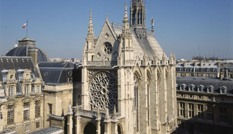 View of the top of the Sainte Chapelle in Paris
