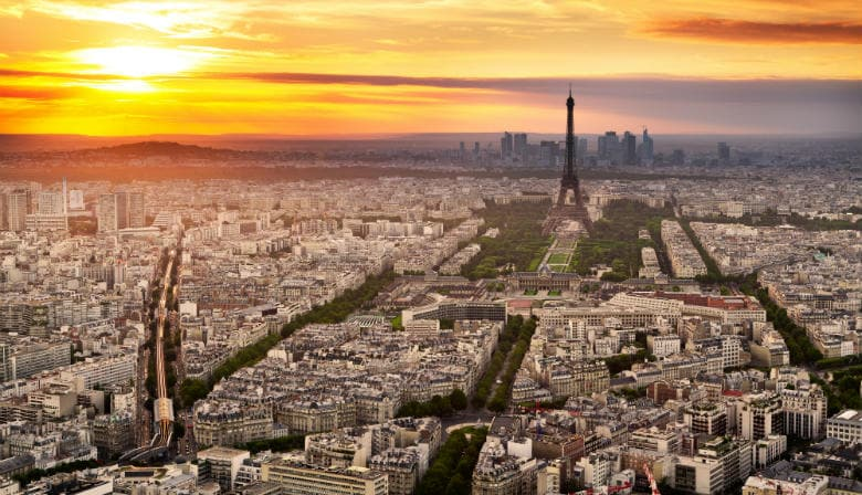 View from Montparnasse Tower at sunset