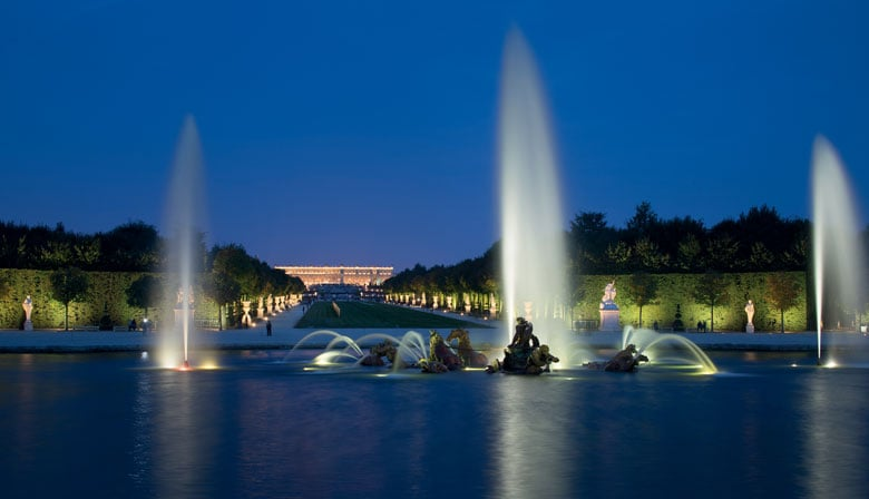 Night view of the fountains of the Chateau de Versailles
