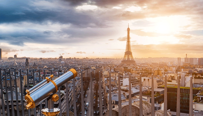 View on the Eiffel Tower and Paris from the Arc de Triomphe