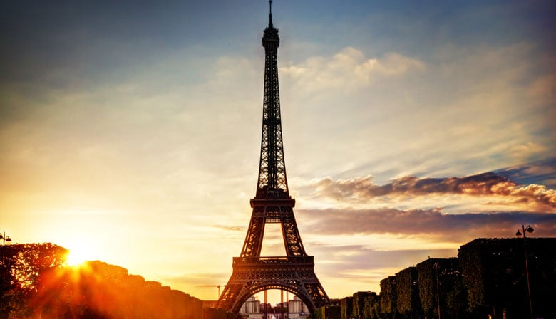 Enjoy the Eiffel Tower at sunset