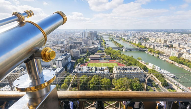 View over Paris and the Seine from the Eiffel Tower