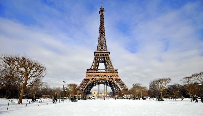 The Eiffel Tower under the snow