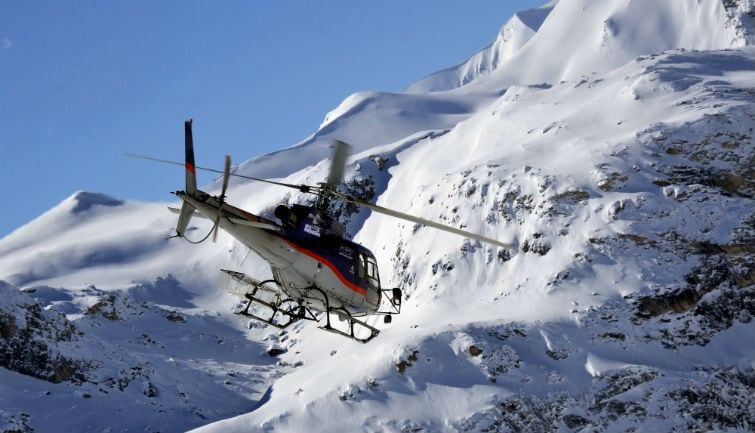Helicopter flight over Mont Blanc