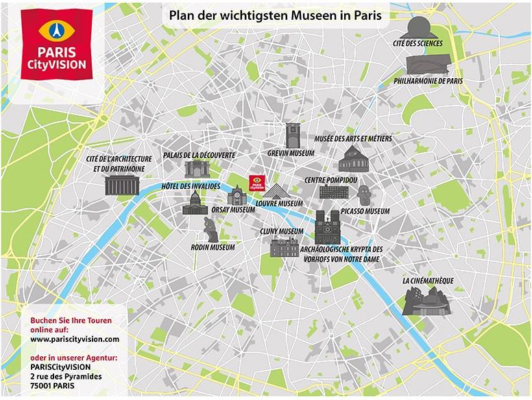Karte Paris Eiffelturm.Karte Der Pariser Museen Download Plan Pariscityvision