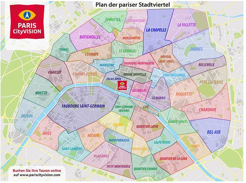 Karte Paris Stadtplan.Karte Und Plan Der Pariser Stadtviertel Zum Downloaden
