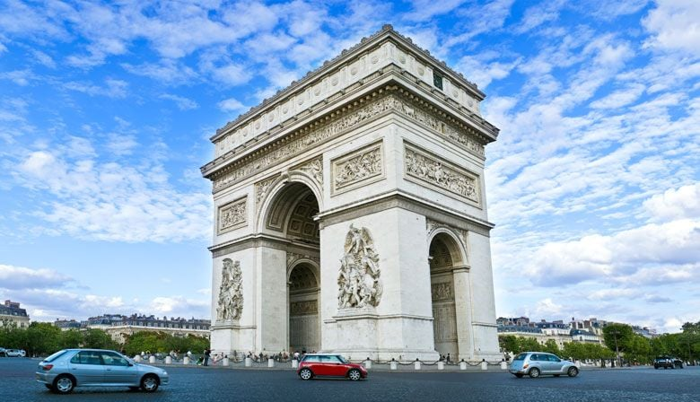 Pass by the Arc de Triomphe during your City Tour