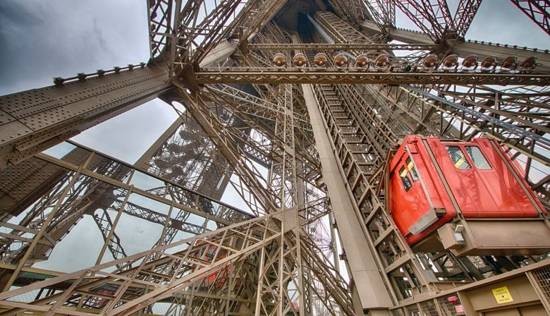 Inside the Eiffel Tower rising to the top