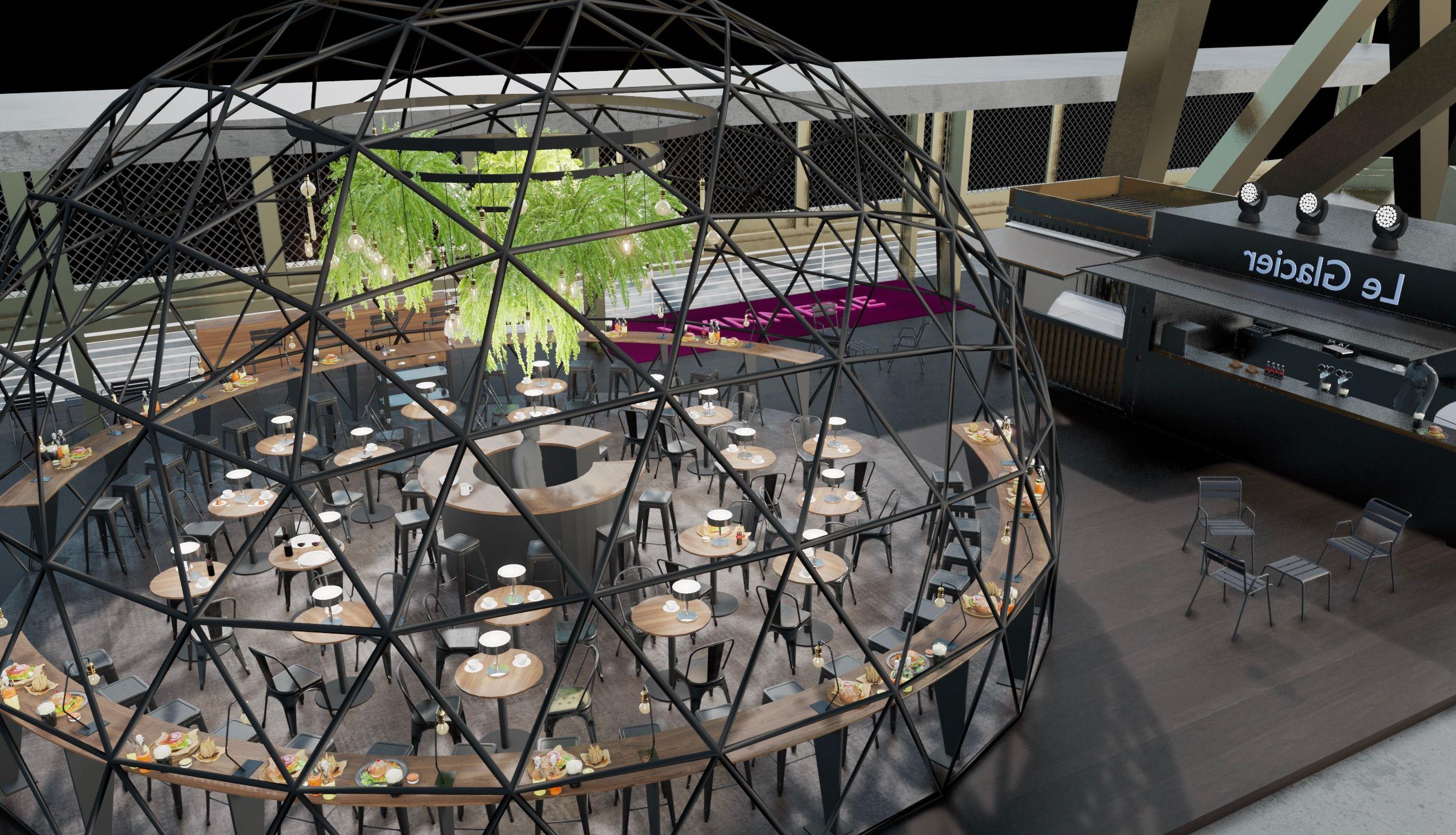 O Terraço no primeiro andar da Torre Eiffel visto de cima