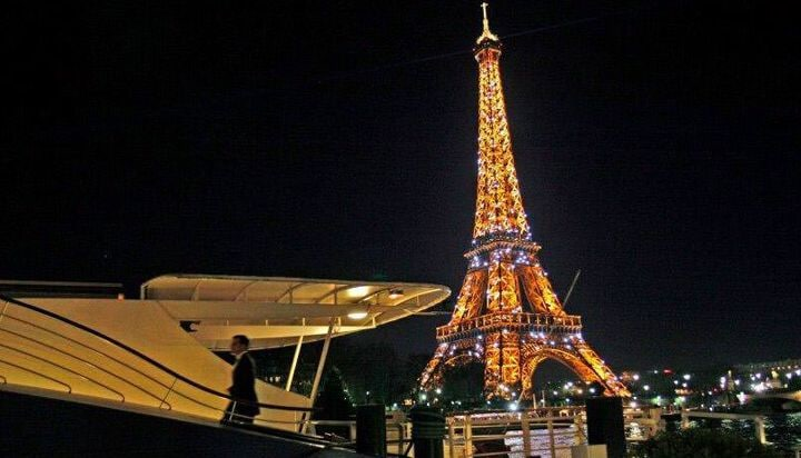 View of the Eiffel Tower illuminated