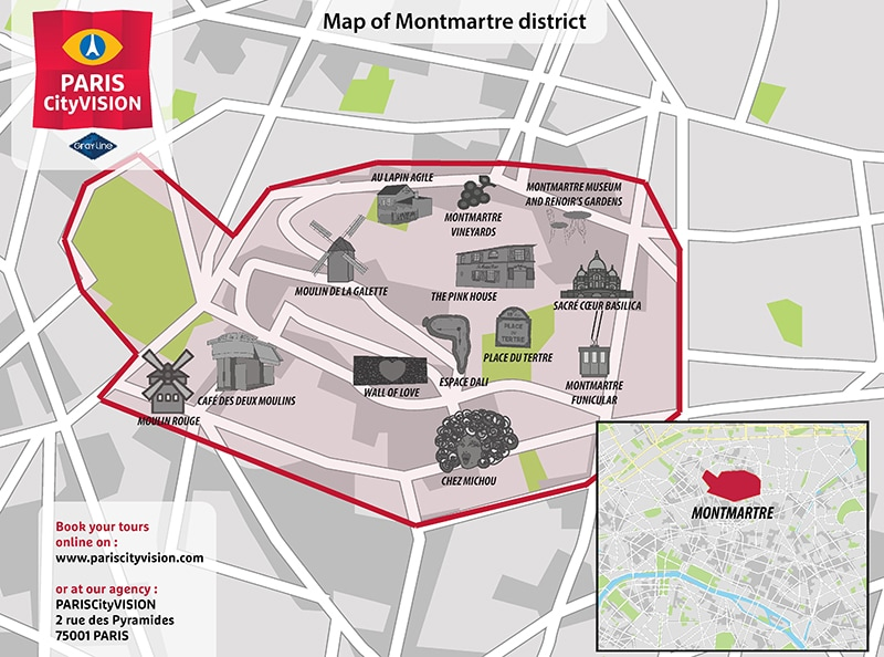 Downloadable map of Montmartre: squares, monuments – PARISCityVISION ...