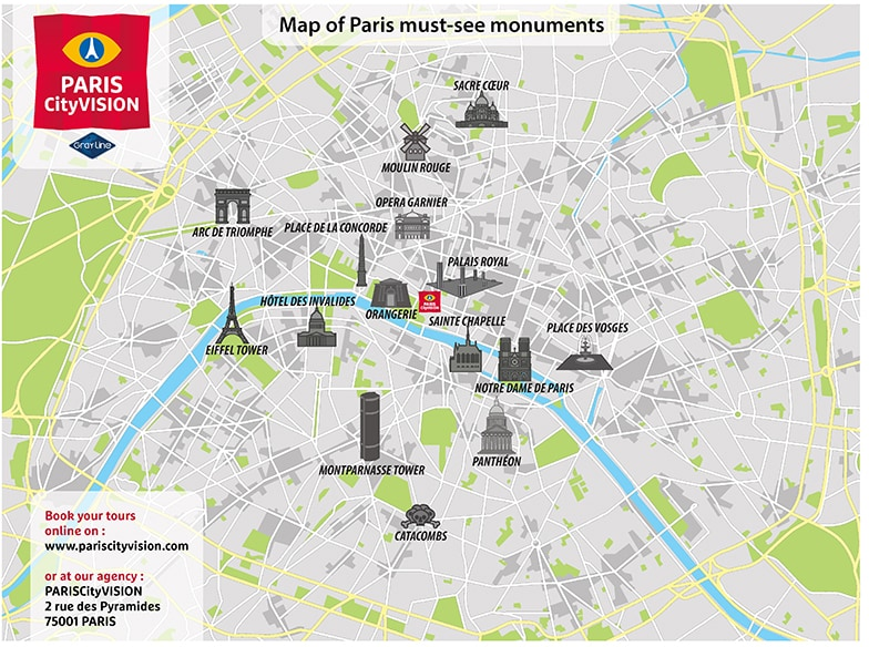 Map Of Paris Monuments Downloadable Map PARISCityVISION - Paris tourist map english pdf