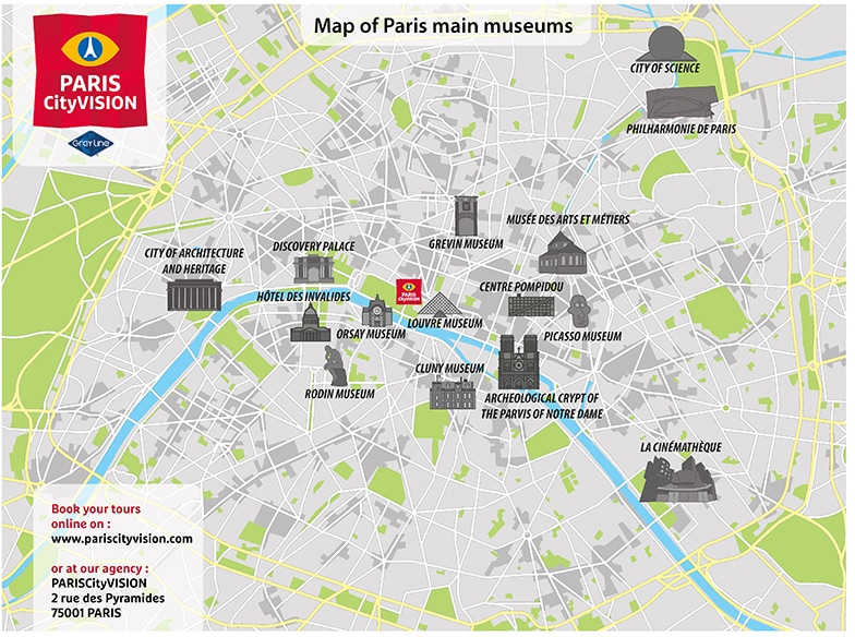 Map Of Paris Museums Downloadable Map PARISCityVISION - Paris tourist map english pdf
