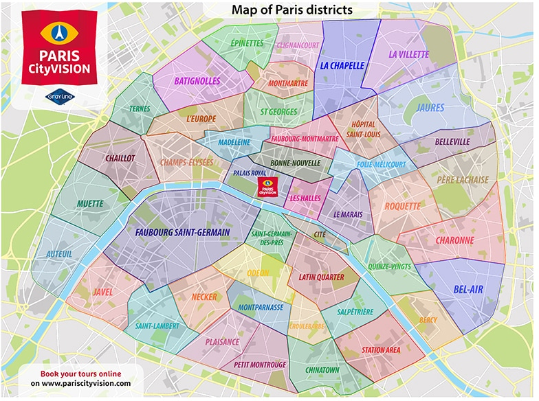 Map Of Paris Districts Downloadable map and diagram of Paris – PARISCityVISION  Map Of Paris Districts
